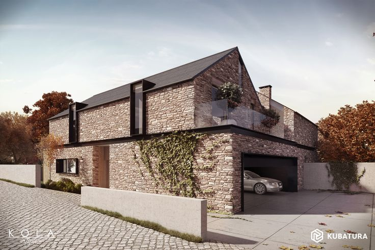 Modern barn house with stone walls. Design: Kubatura. Tags: external views of future building, retail visualisations for architects and real-estate developers, residential buildings rendering, realistic visuals.