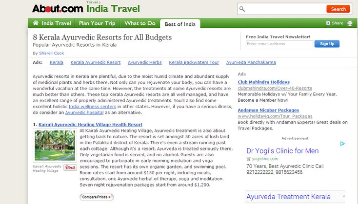Ayurvedic resorts in Kerala are plentiful, due to the moist humid climate and abundant supply of medicinal plants and herbs there.  http://ayurvedichealingvillage.com/ayurveda-package.aspx