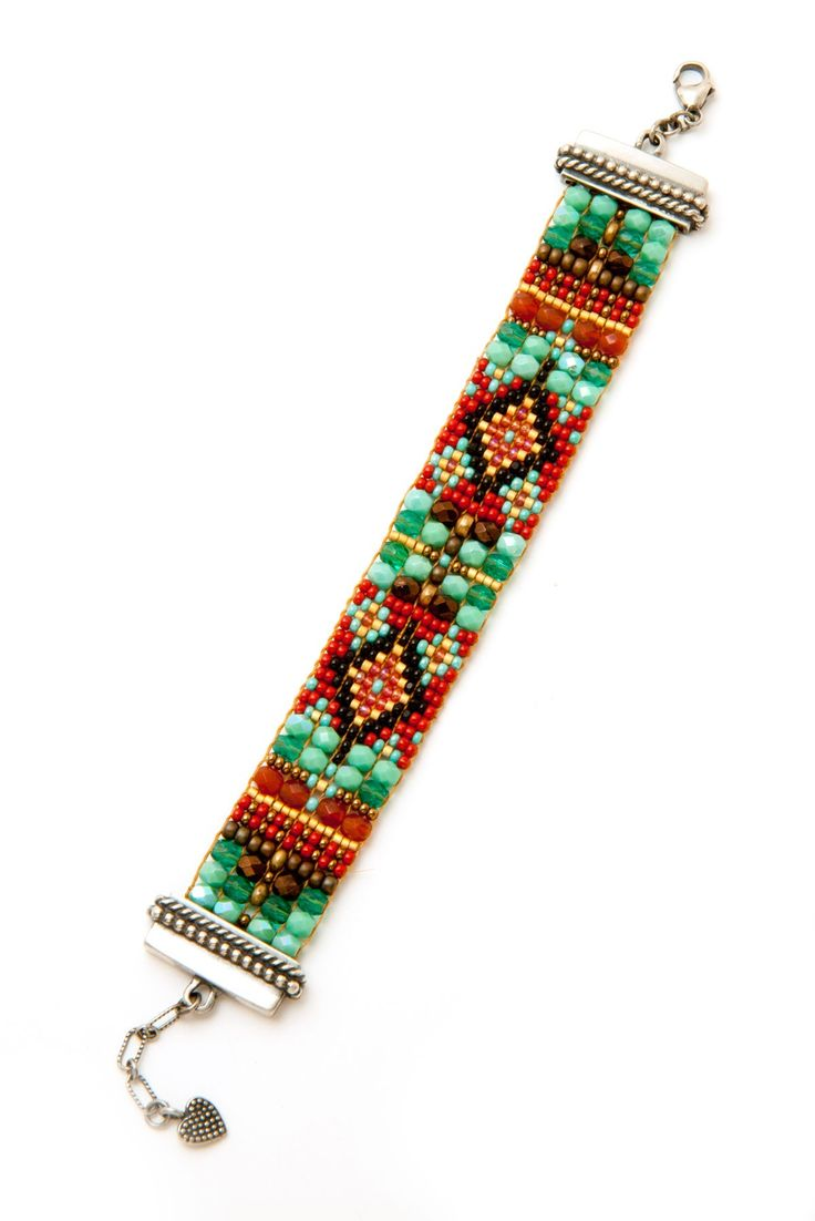Rust and Turquoise Diamond Bracelet - Chili Rose Beadz by Adonnah Langer - By Designer | Peyote Bird Designs