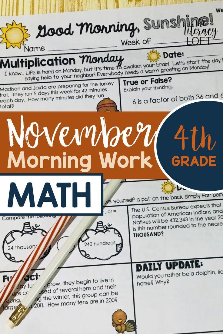 Math Morning Work 4th Grade November I Distance Learning I Google Slides Math Morning Work Math Fun Fractions [ 1103 x 736 Pixel ]