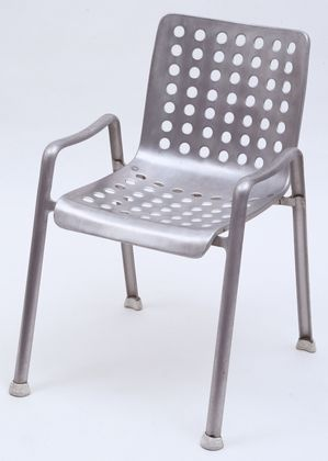 Hans Coray, Landi chair 1938,  MMFA  This is the proper version with 7 columns of holes. They were in production with only 6 columns of holes for a long while - the result of manufacturing limitations. The 7 holer looks so much better.