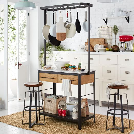 Awesome Marble Kitchen Island + Pot Rack | West Elm $1099