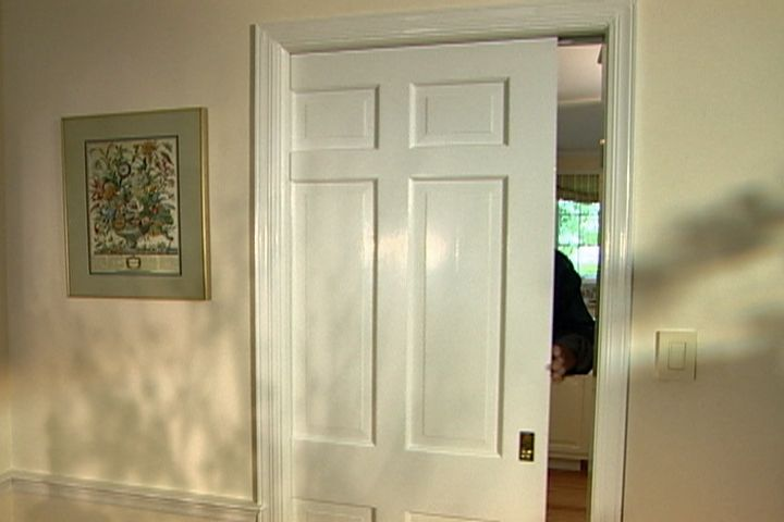 How to repair and replace a pocket door. Upgrade your door hardware with new pocket door pulls and track to give new life to existing pocket doors in your home. #diy