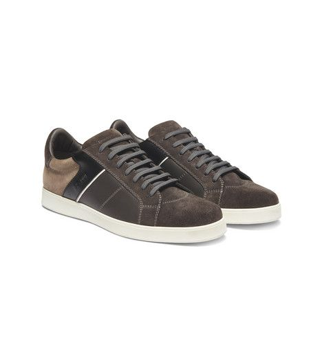 ERMENEGILDO ZEGNA: Sneakers Laces Sueded Rubber sole  Dark brown 44854580EN