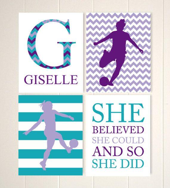 Female soccer player wall art, girl soccer, soccer art, inspirational kids art, teen girls art, gift for girl, kids art, Set of 4 prints by PicabooArtStudio