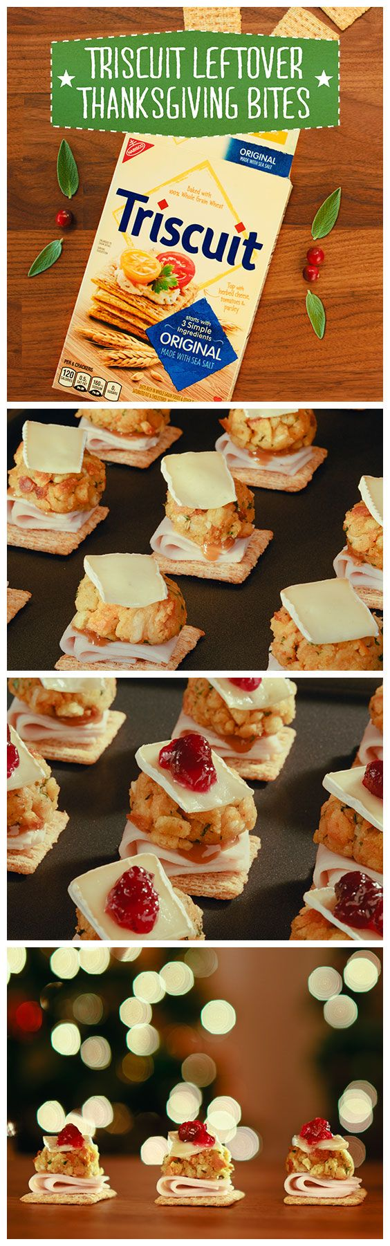 Treat your post-Thanksgiving guests to the joy & flavors of this special feast with the perfect combination of all their favorite leftovers! Heat oven to 350°F, then place TRISCUIT crackers in single layer on a baking sheet and top with a slice of cooked turkey breast, gravy and stuffing. Bake for 3-5 min. or until heated through, then cover with a slice of Brie and bake for 1 more min. Finish it off with a little cranberry sauce & enjoy!