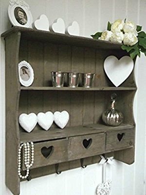 Rustic Shabby Chic Wood Wall Unit Display Shelf with Drawers & Hooks - Perfect for Bathroom Essentials or Ornaments in any Bedroom, Hallway, Kitchen or Utility