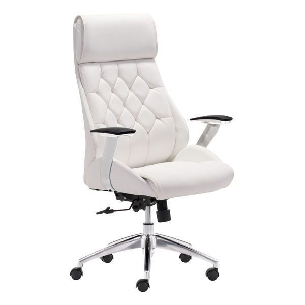 Be the leader of your desk with the Boutique Office Chair. Features leatherette wrapped seat and tufted back cushion with chrome frame. Adjustable height and tilt.