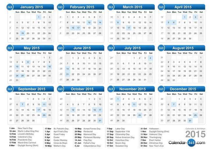 2015 calendars | 2015 Calendar. User-friendly calendar of 2015, the dates are listed by ...
