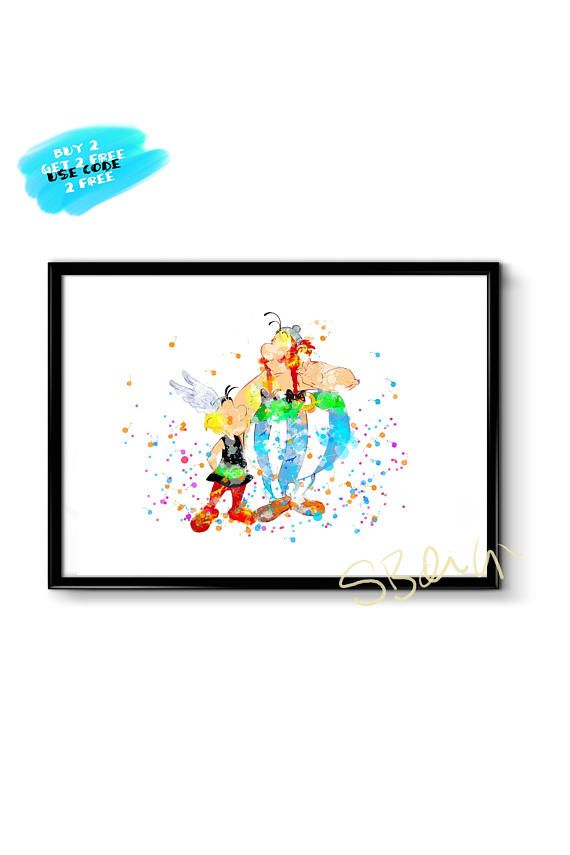 Asterix and Obelix Watercolor Nursery Wall Art Party Decor
