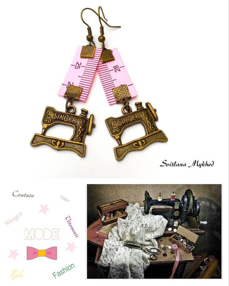 """Boucles d'oreillers """"Machine à coudre """"Singer"""". Couture. Fashion. Mode"""" : Boucles d'oreille par perles-et-couronnes"""