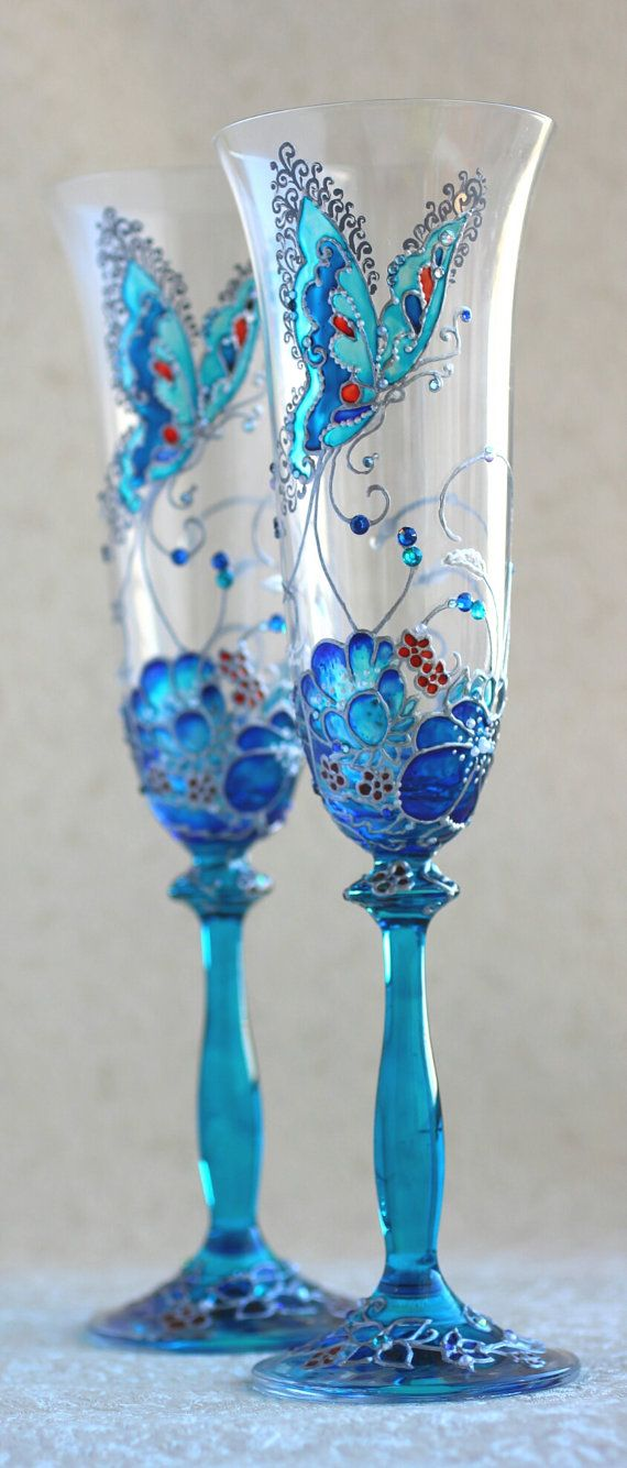 Champagne glasses, Blue, Silver, decorated with Swarovski rhinestones. Hand-painted. You can change colors of the murals, inscriptions of names.