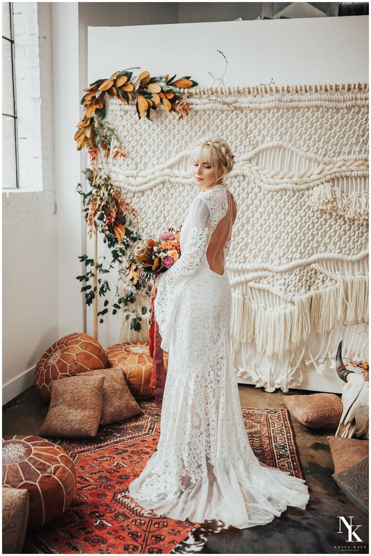 winter boho bride- urban bohemian edgy wedding dress- rue de seine dress- bell sleeves dress- bohemian bride- bridal hair- arizona wedding photographer