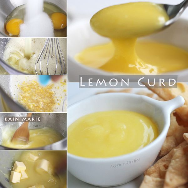 Lemon Curd Recipe....Freshly squeezed juice and zest of 2 lemons* 2 eggs 1/2 cup granulated sugar (100g) Pinch of salt 3 tablespoons unsalted butter, diced (40g)