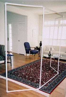 Cheap easy room divider! Just hang fabric through them. | Do It Yourself temporary solution for the unfinished basement?
