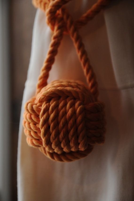 Nautical Decor Orange Curtain Tiebacks Cotton Rope