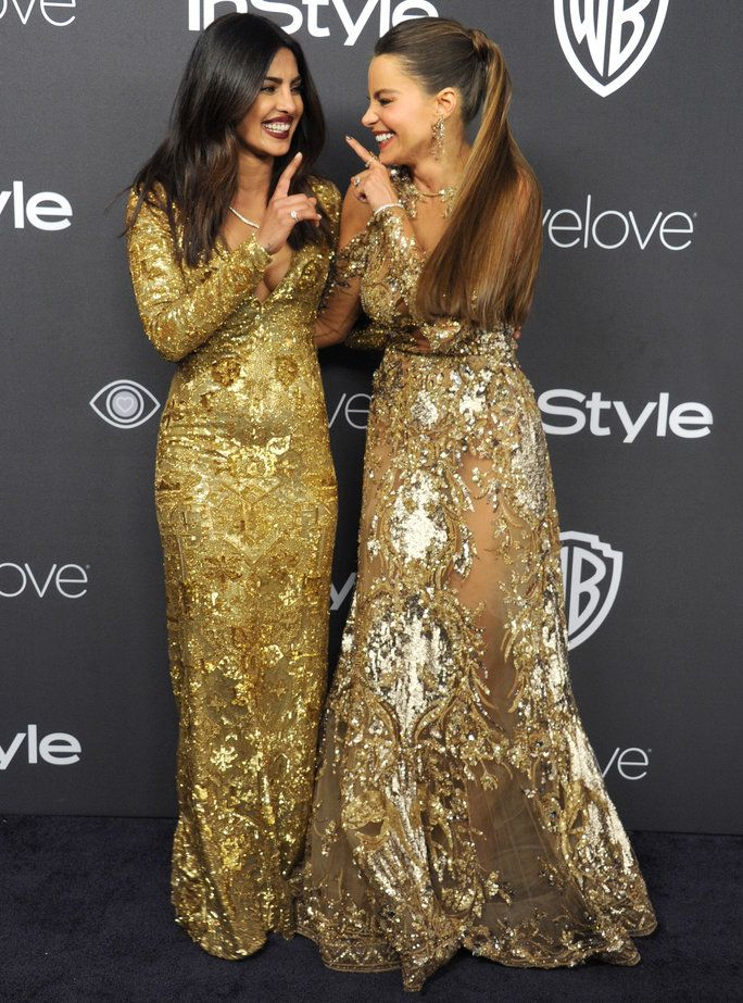 Priyanka Chopra in a Ralph Lauren dress and Sofia Vergara in Zuhair Murad // Celebrity inspiration for wedding gowns and dresses from the Golden Globes 2017 red carpet