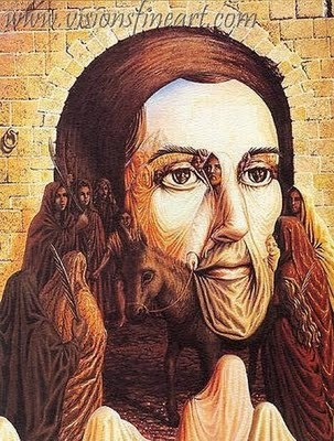 ...Octavio Ocampo, Artists, Optical Illusions, The Face, Jesus Christ, Palms Sunday, Masks, Jesus Pictures, Art Pictures