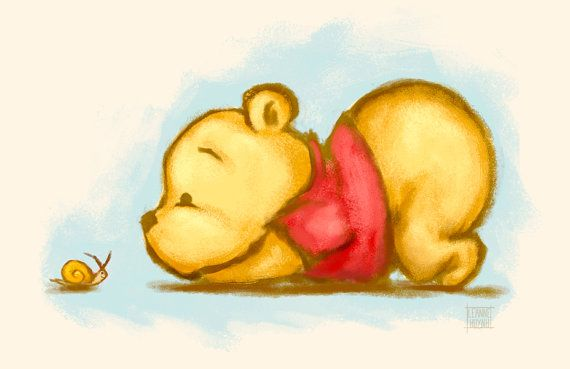 Winnie the Pooh - Baby Pooh Bear Illustration Art Print by faedri