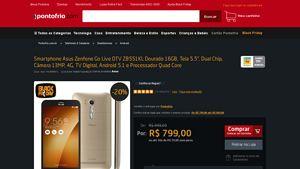 [PontoFrio.com] Smartphone Asus Zenfone Go Live DTV ZB551KL Dourado 16GB, Tela 5.5 ´, Dual Chip, Câmera 13MP, 4G, TV Digital, Android 5.1 e…