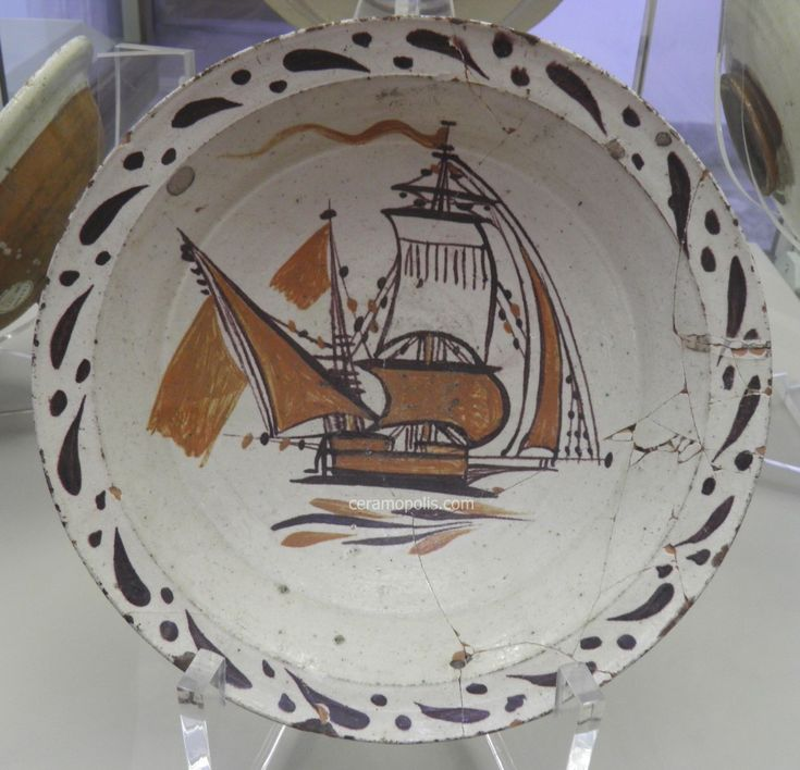 Canakkale Plate 19th Rare Ship Motif