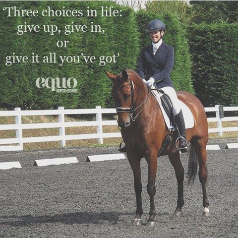 """Three choices in life: give up, give in or give it all you've got!"" #TransformationTuesday #equoevents"