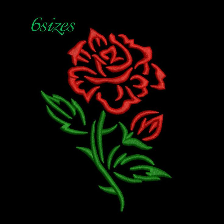 Rose embroidery design,Stitched flower,Flowers pattern,instant download,Flower machine embroidery,design,digital download by GretaembroideryShop on Etsy