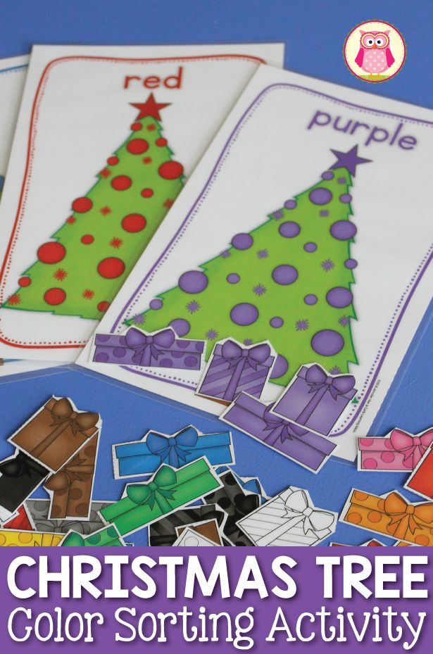 There are many ways to use this Christmas tree color sorting activity: teach colors by color sorting, counting, sorting by style, small group games and a busy book....a great Christmas themed activity for preschool, pre-k, and totschool.  Hands-on color matching activity.  Christmas tree colors.  Visual discrimination, color matching, colour matching, teach colours