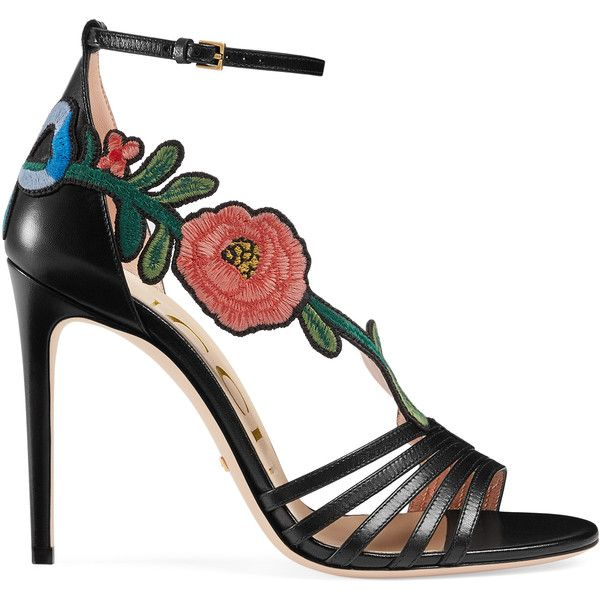 Gucci Embroidered Leather Mid-Heel Sandal ($940) ❤ liked on Polyvore featuring shoes, sandals, black, women, ankle wrap sandals, gucci shoes, black ankle strap shoes, ankle strap heel sandals and black leather sandals