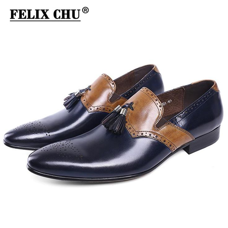 FELIX CHU Autumn New Genuine Leather Men Formal Shoes With Tassel Pointed Toe Wedding Party Dress Blue Footwear Men's Flat