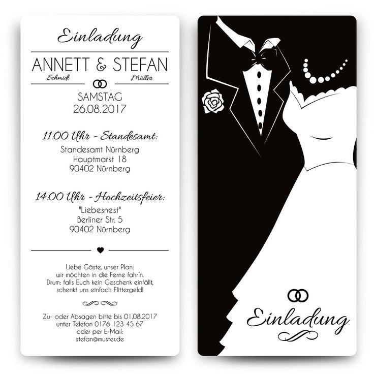 Einladungskarten Zur Hochzeit / Hochzeitskarten In Unserem Schönen Black U0026  White Brautpaar Motiv In Weiß Jetzt Individuell Bedruckt Versandkostenfrei  Online ...