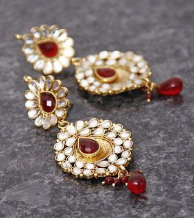 White & Red Drop Embellished Earrings