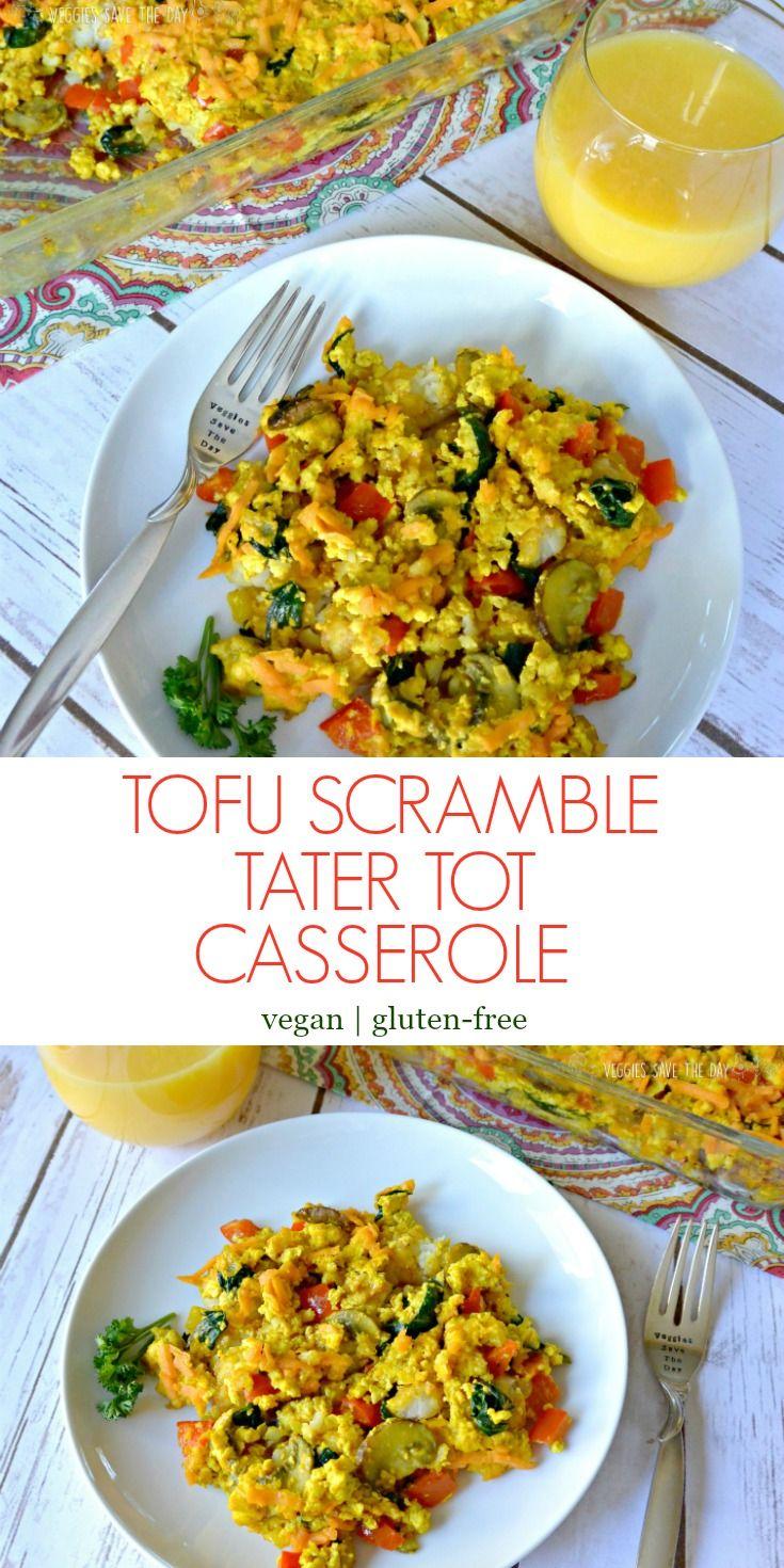 Tofu Scramble Tater Tot Casserole (vegan and gluten-free) via @VeggiesSave