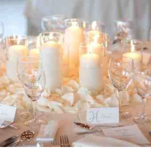 Candle Flower Centerpieces Wedding: White Candles And White Rose Petals...simple, Classic