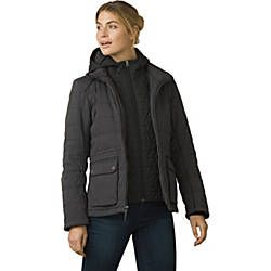 The prAna Halle Insulated Jacket is made from Stretch Zion fabric with a PFC-free durable all-weather finish. Primaloft ECO insulation and dual layer full zip insulated front panels maximize warmth. Fabric content: Shell 1: 97 Nylon / 3 Spandex ; Lining/Shell 2: 100 Polyester; Insulation: Primaloft ECO 60 Recycled Polyester / 40 Polyester.