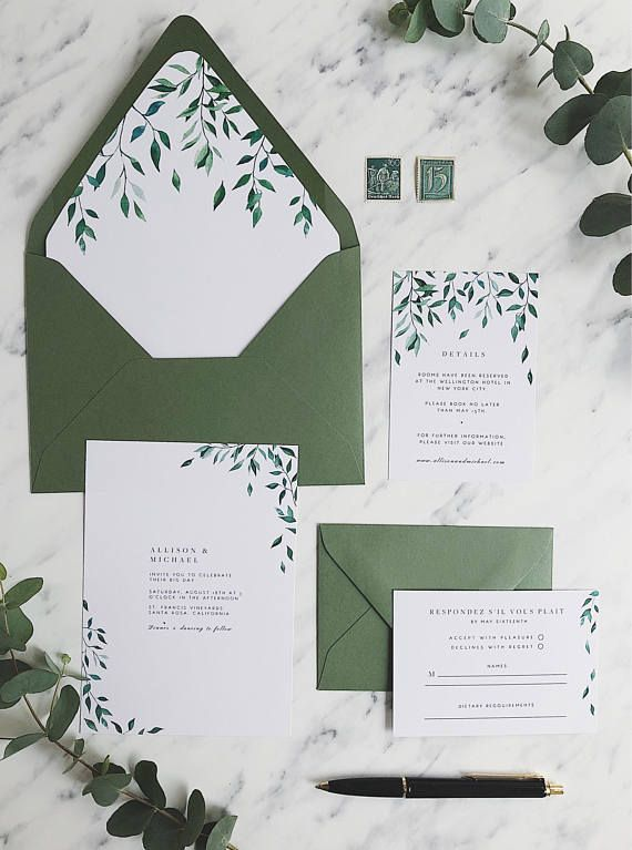 Wedding Invitation Suite Printable Greenery Wedding Invitation