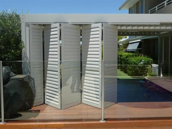 Shutters for outdoor area