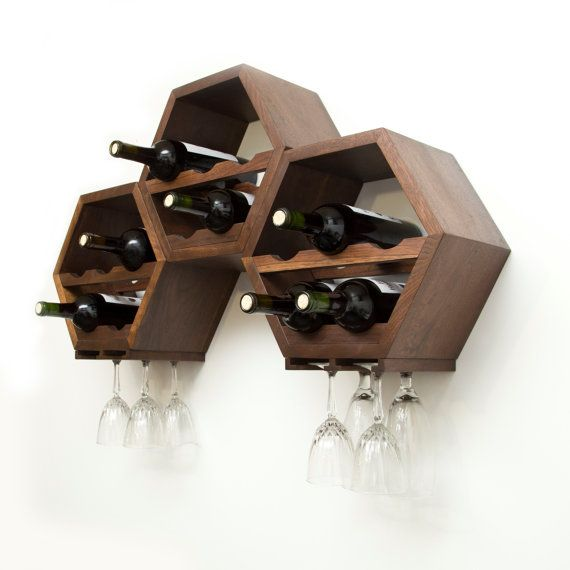 Honeycomb Wine Rack MidCentury Modern Decor by HaaseHandcraft