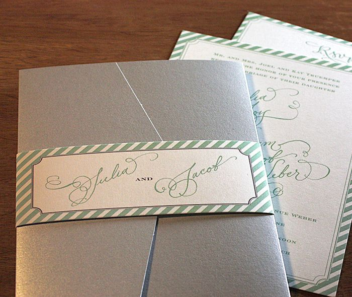 Stunning metallic silver pocket folder with matching striped bordered hand calligraphy belly band for a spring wedding.  | Invitations by Ajalon | invitationsbyajalon.com