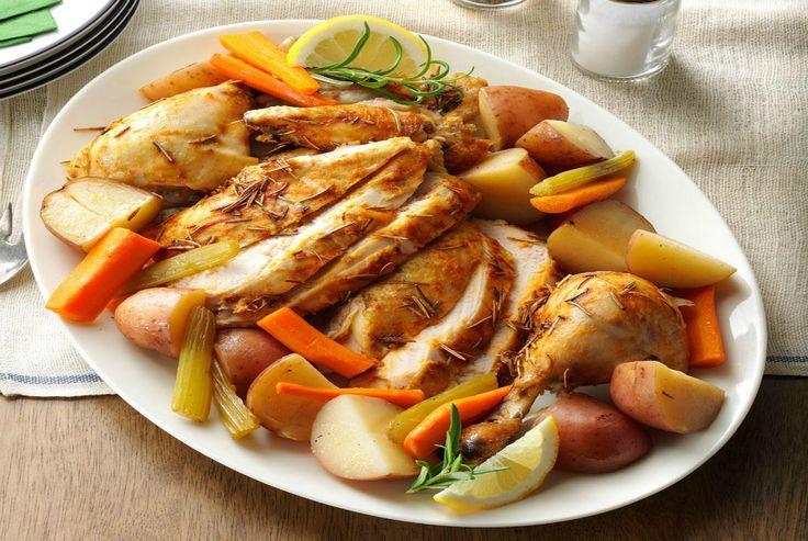 Receta de pollo al horno con verduras mixtas