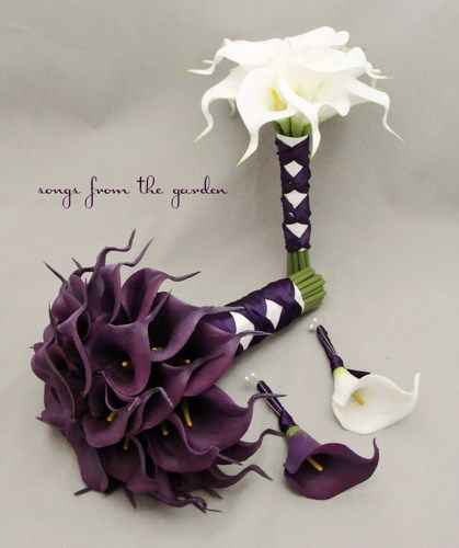 Purple+Calla+Lily+Wedding+Bouquet | purple calla bridal bouquet real touch calla lily wedding package ...