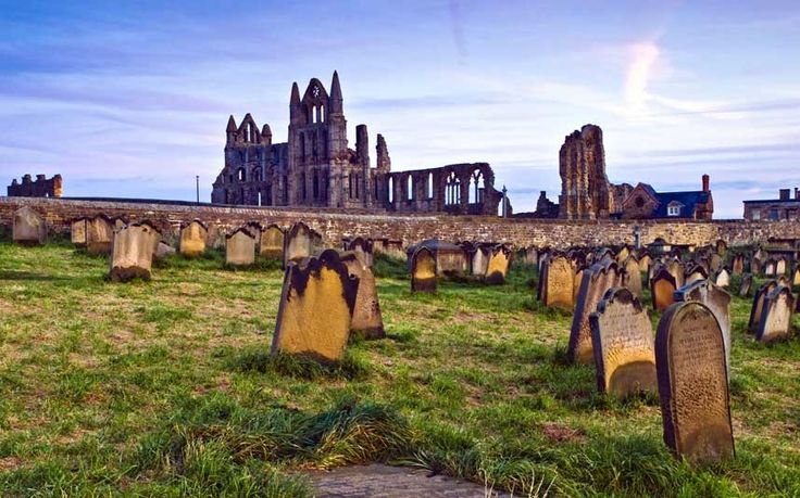 St Mary's graveyard, Whitby, England   A bit of history-  This used to be a real draw for Goths at Halloween, set as it is overlooking the abbey that Bram Stoker used as a setting for his Dracula novels (although they were banned last year from posing in tombs). It is one of the country's most striking settings, looking out to the North Sea. Watch out too for the unusual names on the graves – Humpty Dumpty and Tom Thumb for example.