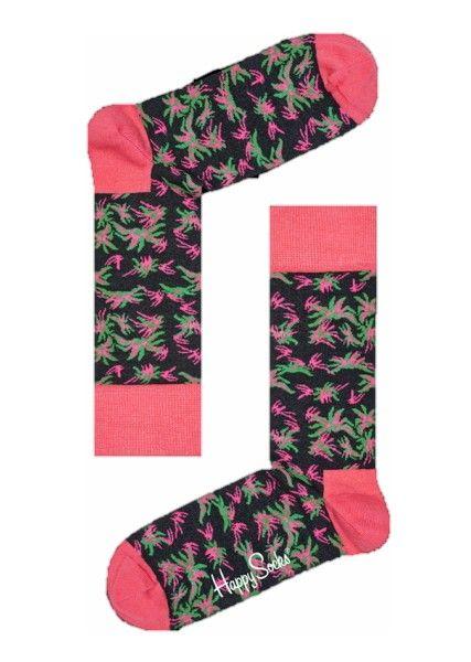 Sokken Happy Socks Aloha zwarte achtergrond groen en fuchsia tekening