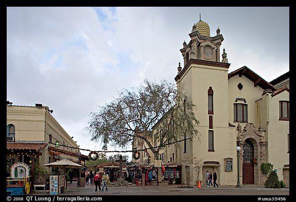 Church and Olvera Street, El Pueblo historic district. Los Angeles, California, USA