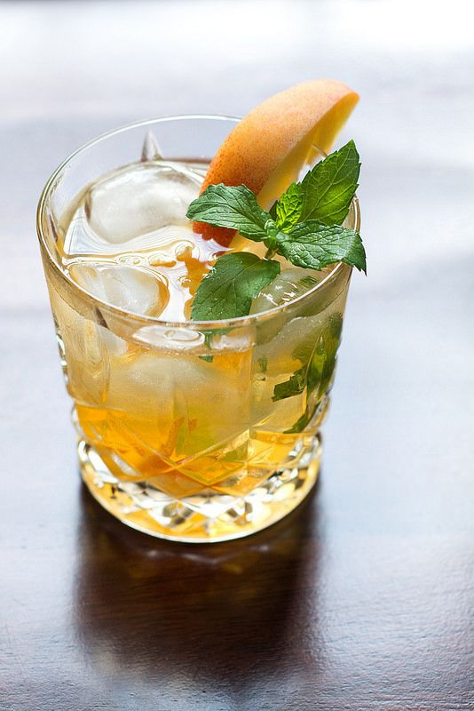 Peach Old Fashioned | bourbon or whiskey, peach bitters, peach slices, mint leaves, simple syrup, club soda (optional)