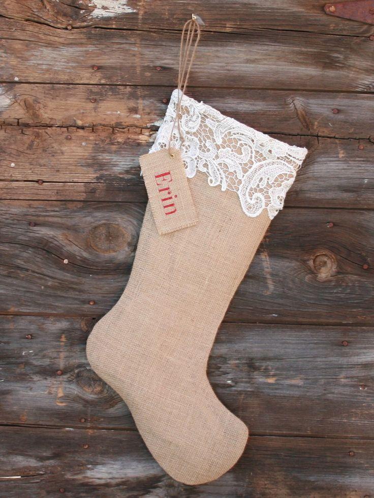 Personalized Burlap  Lace Christmas Stocking, Christmas Gift for Her, Custom Christmas Stocking by ModDotTextiles on Etsy https://www.etsy.com/au/listing/473881458/personalized-burlap-lace-christmas