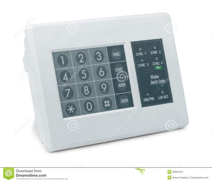 Wireless security system control pad isolated on white. Protect your family, friends and business. See the newest technology on Wireless surveillance system at hiddenwirelesssecuritycameras.com