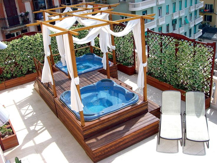 Grand Hotel Savoia #Genoa and its panoramic terrace with two 4-seater #minipools. Enjoy your #holidays #Italy