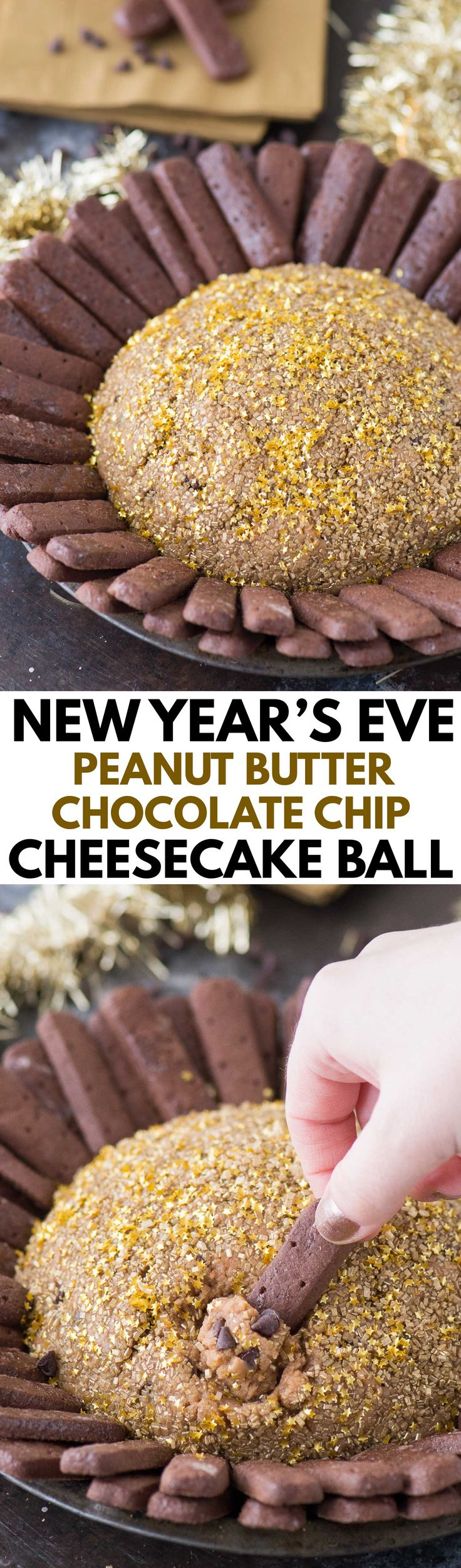 A fun New Year's Eve peanut butter chocolate chip cheesecake ball! This is a kid friendly New Year's Eve recipe!