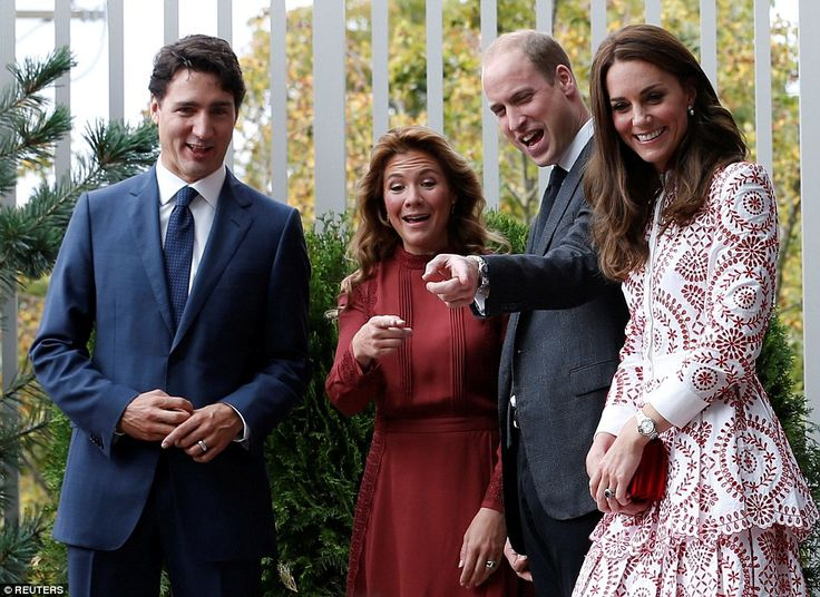 Canadian prime minister Justin Trudeau and his wife Sophie, left, join the Duke and Duches...